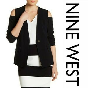 NWT Nine West Black Cold Shoulder Blazer